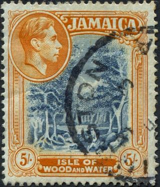 Jamaica 1938 (kgvi) 5s Slate - Blue And Yellow - Orange Sg132 Cv £3.  75 Uh photo