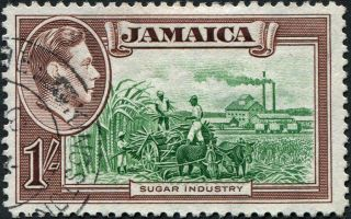 Jamaica 1938 (kgvi) 1s Green And Purple - Brown Sg130 Cv £0.  20 Vf Uh Freep&p photo