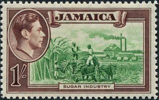 Jamaica 1938 (kgvi) 1s Green & Purple - Brown Sg130 Cv £13.  00 Vf Mh Freep&p photo