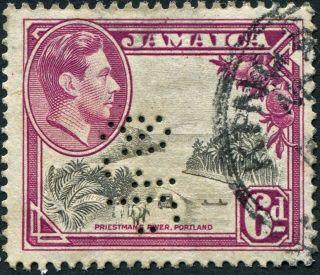 Jamaica 1938 (kgvi) 6d Grey And Purple Sg128 Cv £0.  30+ Uh Perfin Ufco photo