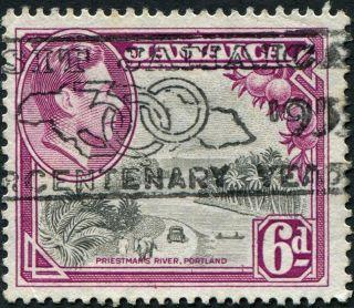 Jamaica 1950 (kgvi) 6d Grey And Purple Sg128a Cv £0.  10 Uh Postage photo