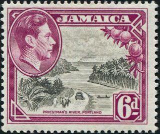 Jamaica 1950 (kgvi) 6d Grey And Purple Sg128a Cv £2.  50 F Mh Postage photo