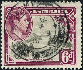 Jamaica 1938 (kgvi) 6d Grey And Purple Sg128 Cv £0.  30 F Uh Postage photo