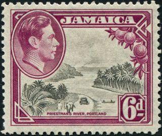 Jamaica 1938 (kgvi) 6d Grey And Purple Sg128 Cv £8.  50 F Mh Postage photo