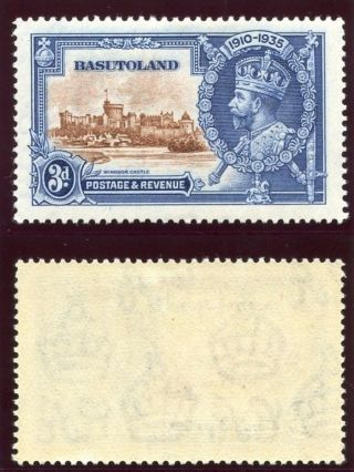 Basutoland 1935 Kgv Silver Jubilee 3d Brown & Deep Blue Error Mlh.  Sg 13g. photo