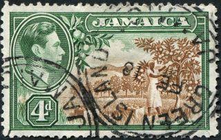 Jamaica 1938 (kgvi) 4d Brown And Green Sg127 Cv £0.  10 Uh P&p photo