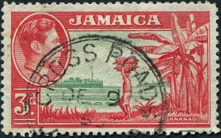 Jamaica 1952 (kgvi) 3d Green And Scarlet Sg126c Cv £0.  30 Uh Postage photo