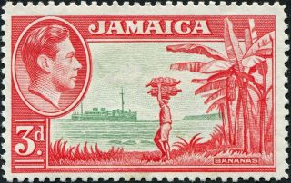 Jamaica 1952 (kgvi) 3d Green And Scarlet Sg126c Cv £5.  50 F Mh Postage photo