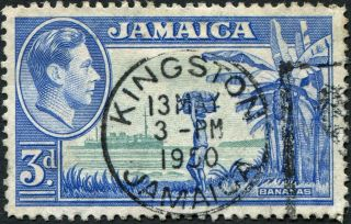 Jamaica 1949 (kgvi) 3d Greenish Blue And Ultramarine Sg126b Cv £1.  25 Vf Uh photo