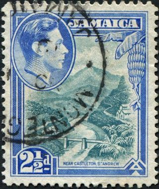 Jamaica 1938 (kgvi) 2 1/2d Greenish Blue And Ultramarine Sg125 Cv £2.  50 Vf photo
