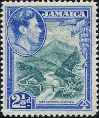 Jamaica 1938 (kgvi) 2 1/2d Greenish Blue And Ultramarine Sg125 Cv £8.  00 Vf photo