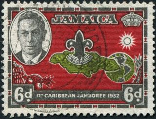 Jamaica 1952 (kgvi) 6d Yellow - Green,  Carmine - Red And Black Sg152 Cv £0.  60 photo