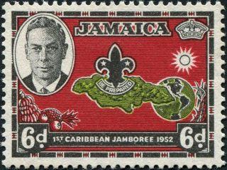 Jamaica 1952 (kgvi) 6d Yellow - Green,  Carmine - Red And Black Sg152 Cv £0.  70 photo