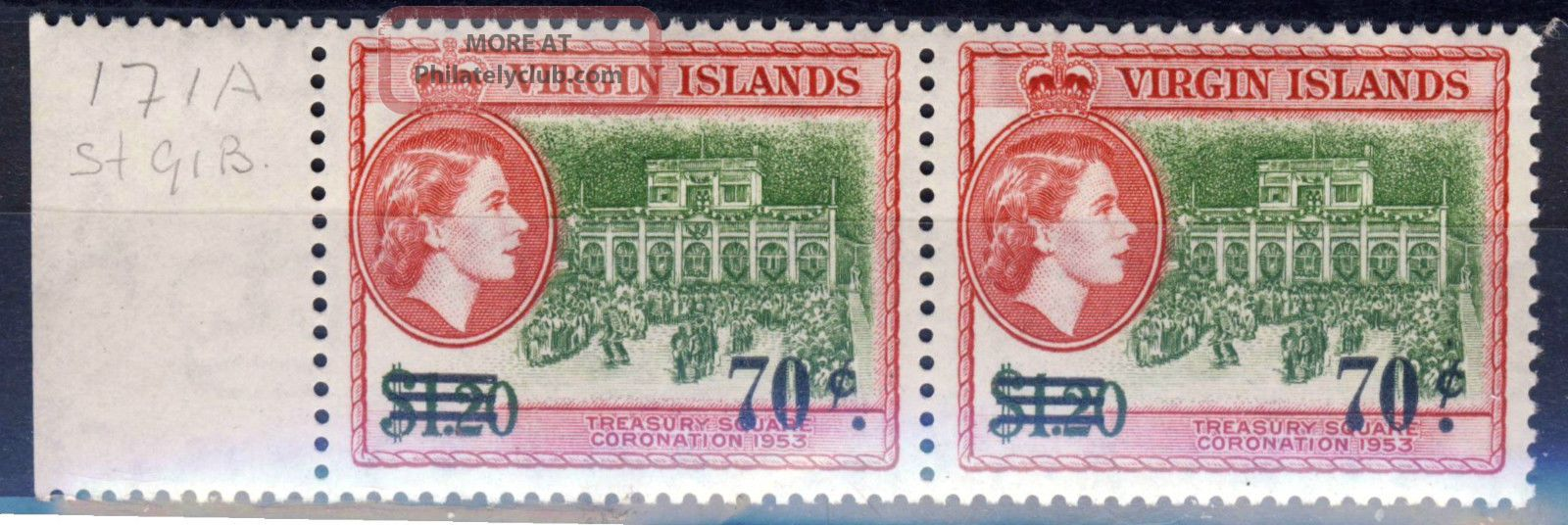 British Virgin Islands Qe Ii 1962 70c.  Surcharge Variety Stop To R Sg 171a British Colonies & Territories photo