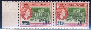 British Virgin Islands Qe Ii 1962 70c.  Surcharge Variety Stop To R Sg 171a photo