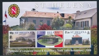 St.  Helena Sc 947,  2008,  Napoleon Home & Grave,  3 Stamp Sheet, photo
