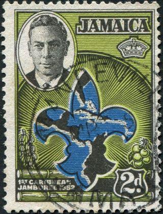 Jamaica 1952 (kgvi) 2d Blue,  Apple - Green And Black Sg151 Cv £0.  10 Uh photo