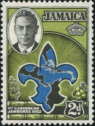 Jamaica 1952 (kgvi) 2d Blue,  Apple - Green And Black Sg151 Cv £0.  30 Vf Mh photo