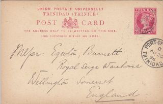 1896 Trinidad 1d Postcard Posted From Port - Of - Spain To Uk photo