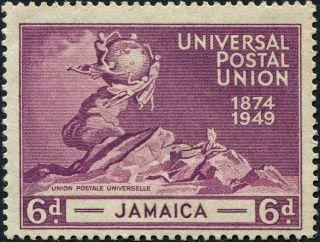 Jamaica 1949 (kgvi) 6d Purple Sg148 Cv £0.  50 Mh Postage photo