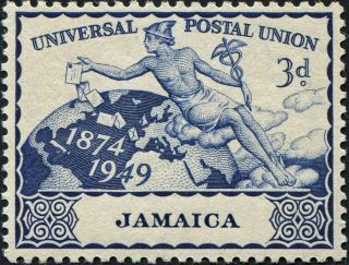 Jamaica 1949 (kgvi) 3d Deep Blue Sg147 Cv £0.  50 Vf Mh Postage photo