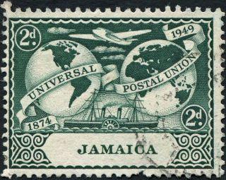 Jamaica 1949 (kgvi) 2d Deep Blue - Green Sg146 Cv £5.  25 Uh Postage photo
