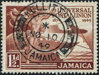 Jamaica 1949 (kgvi) 1 1/2d Red - Brown Sg145 Cv £0.  15 Vf Uh Kellits Cancel photo