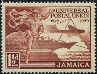 Jamaica 1949 (kgvi) 1 1/2d Red - Brown Sg145 Cv £0.  20 Vf Mh Postage photo