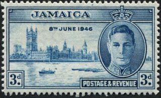 Jamaica 1946 (kgvi) 3d Blue Sg142a Cv £0.  65 F Mh Postage photo