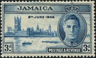 Jamaica 1946 (kgvi) 3d Blue Sg142 Cv £7.  00 Mh Postage photo