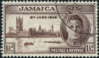 Jamaica 1946 (kgvi) 1 1/2d Purple - Brown Sg141 Cv £0.  10 Uh Postage photo