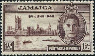 Jamaica 1946 (kgvi) 1 1/2d Purple - Brown Sg141 Cv £2.  50 Mh Postage photo