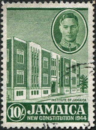 Jamaica 1945 - 6 (kgvi) 10s Green Sg140 Cv £2.  25 Vf Uh Postage photo