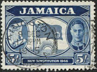 Jamaica 1945 - 6 (kgvi) 5s Indigo Sg139 Cv £1.  00 Vf Uh Kingston Cancel photo