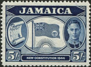 Jamaica 1945 - 6 (kgvi) 5s Indigo Sg139 Cv £3.  50 Vf Mh Postage photo