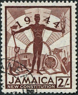 Jamaica 1945 - 6 (kgvi) 2s Red - Brown Sg138 Cv £0.  50 Vf Uh Postage photo