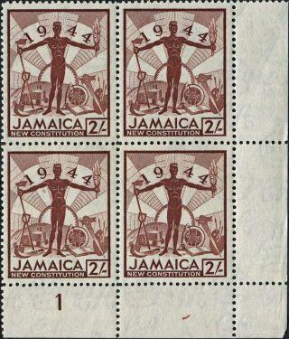 Jamaica 1945 - 6 (kgvi) 2s Red - Brown Sg138 Cv £5.  00 F Mh Block Of 4 Freep&p photo
