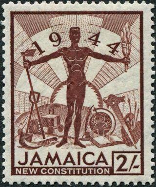 Jamaica 1945 - 6 (kgvi) 2s Red - Brown Sg138 Cv £1.  25 Vf Mh Postage photo