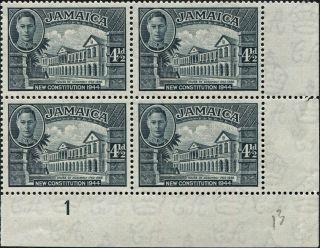 Jamaica 1946 (kgvi) 4 1/2d Slate Sg137a Cv £18.  00+ F Mh Block Of 4 Freep&p photo