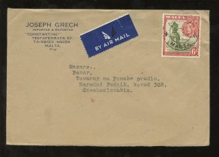 Malta Advertising Envelope To Czechoslovakia 1948 Joseph Grech Ta Xbiex. .  Solo 6d photo