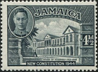 Jamaica 1946 (kgvi) 4 1/2d Slate Sg137a Cv £4.  50 Mh Postage photo