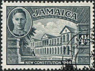 Jamaica 1945 - 6 (kgvi) 4 1/2d Slate Sg137 Cv £0.  30 Vf Uh Postage photo