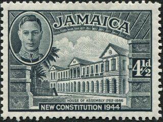 Jamaica 1945 - 6 (kgvi) 4 1/2d Slate Sg137 Cv £0.  60 F Mh Postage photo