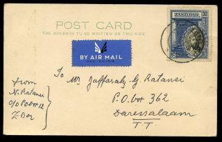 Zanzibar To Dar Es Salaam Postcard By Air Mail 1941 30c Rate photo