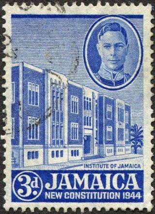 Jamaica 1946 (kgvi) 3d Ultramarine Sg136a Cv £2.  75 F Uh Postage photo