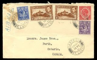 St Lucia 1941 Cover 4 Colour 2 Reign 5 Stamp Air Mail To Canada photo