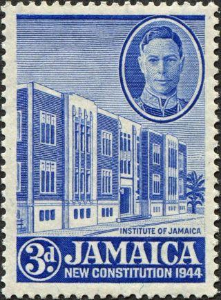 Jamaica 1946 (kgvi) 3d Ultramarine Sg136a Cv £3.  25 F Mh Postage photo