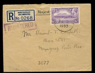 Montserrat 1933 Ohms Cover Private Reg.  Use Porto Rico Solo 6d Settlement Issue photo