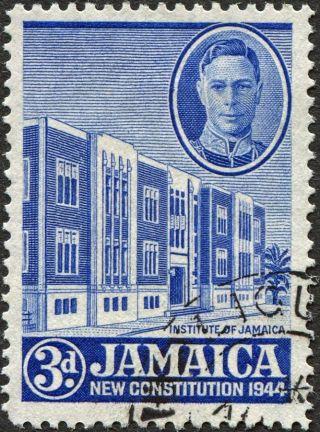 Jamaica 1945 - 6 (kgvi) 3d Ultramarine Sg136 Cv £0.  50 F Uh Postage photo