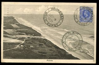 Gold Coast 1921 Ppc Accra Beach Fine Winnebah Postmark On 2½d To Italy photo